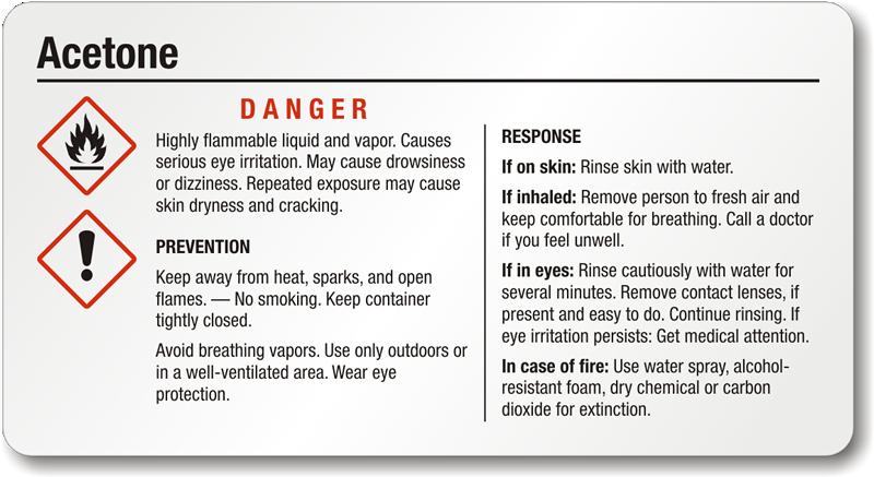Acetone Danger Small Ghs Chemical Label Sku Ghs 001 C