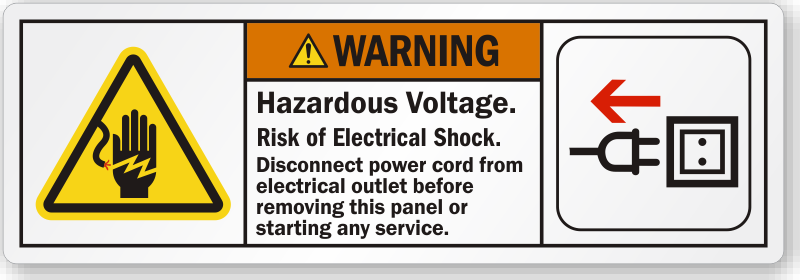 Hazardous Voltage Disconnect Power Cord Ansi Warning Label
