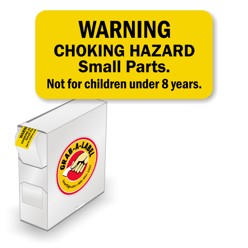Best Price Custom Adhesive Choking Hazard Warning Labels: Grab-a-Label In Dispenser Box