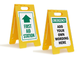 First Aid Fold Up Floor Signs | Free Standing Signs