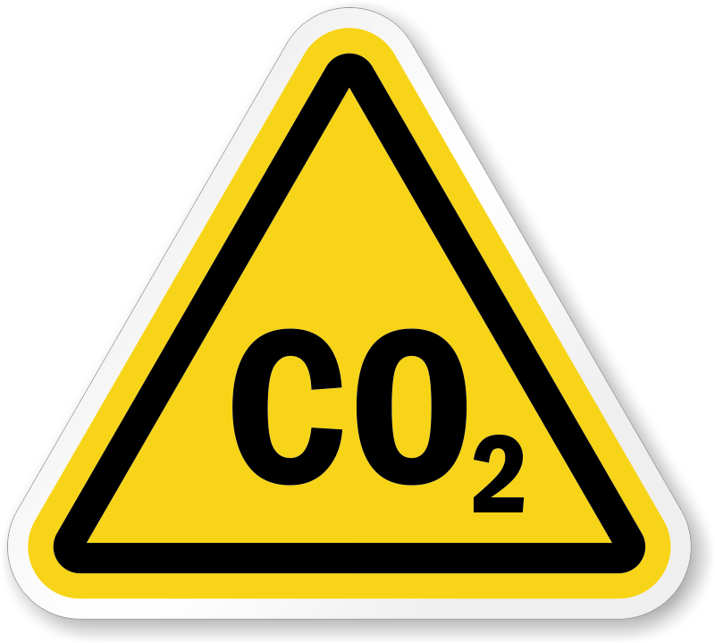 co2 symbol iso triangle warning sticker signs sku lb 2619