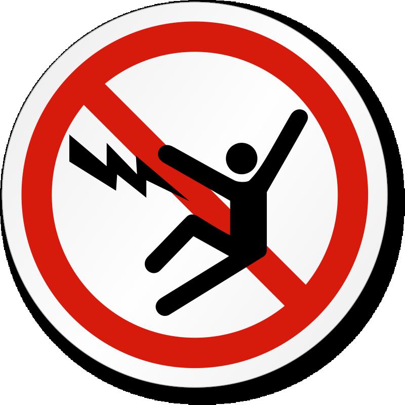 Electric Shock Symbol Label | ISO Prohibition Safety, SKU: LB-2189