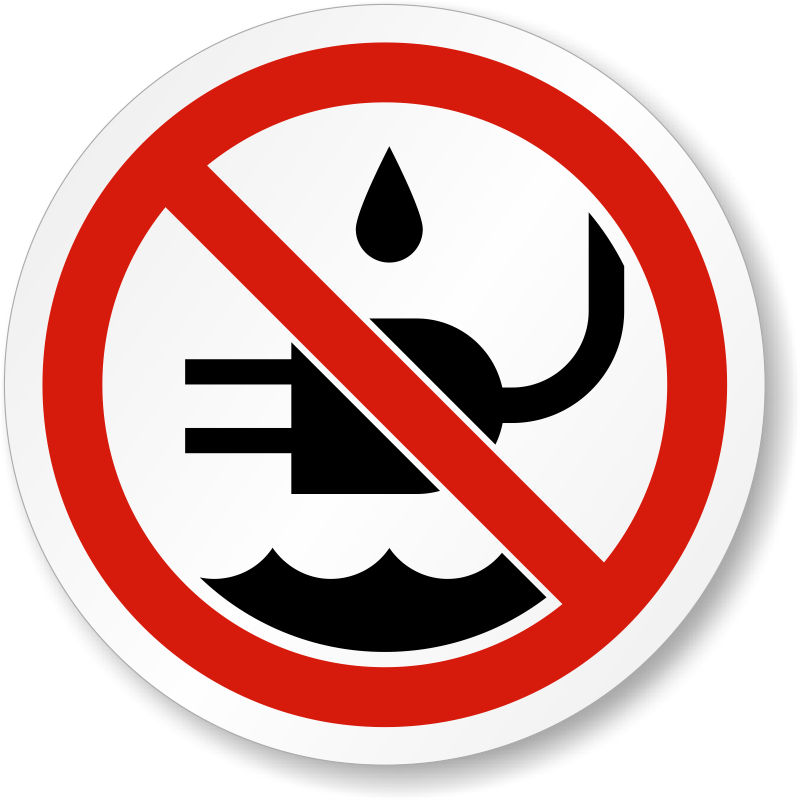 No Liquid Near Plug Symbol Iso Prohibition Label Sku Lb 2174