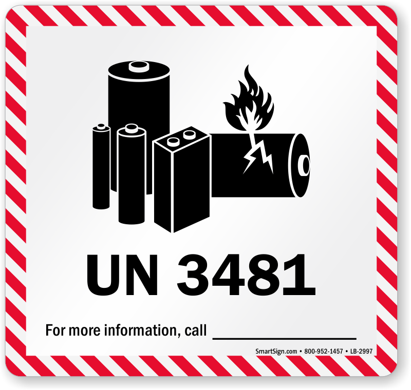 Printed On Roll BAT-UN3481 1 Battery Transport Warning Caution Hazard Labels 500 x IATA Compliant UN 3481 Lithium Battery Mark Labels Lithium Ion