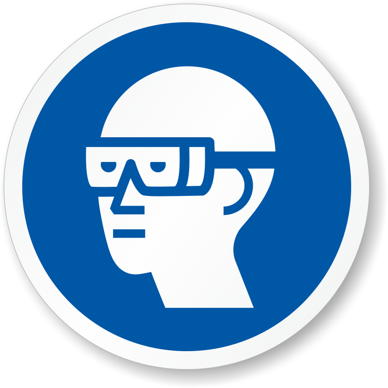 Wear Chemical Goggles Iso Mandatory Safety Label Sku Lb 2956
