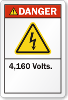4,160 Volts ANSI Danger Label