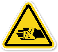 Chemical Burns Hazard Symbol, ISO Triangle Warning Sticker