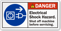 Electrical Shock Hazard Shut Off Machine Danger Label