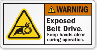 Exposed Belt Drive Keep Hands Clear Warning Label