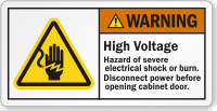 High Voltage Hazard Of Severe Electric Shock Label