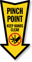 Keep Hands Clear Arrow Safety Label