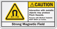 Interaction With Metallic Objects Produce Pinch Hazards Label
