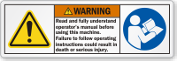 Read Operator's Manual Before Using This Machine Label