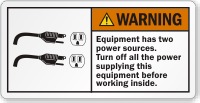 Equipment Has Two Power Sources ANSI Warning Label