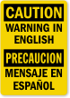 Custom OSHA Bilingual Caution Label