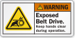 ANSI Warning Hand Entanglement Label