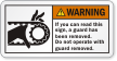 ANSI Operating Hazards Warning Label