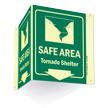 Glow-In-Dark Projecting Emergency Shelter Area Sign, 6 in. x 5 in.